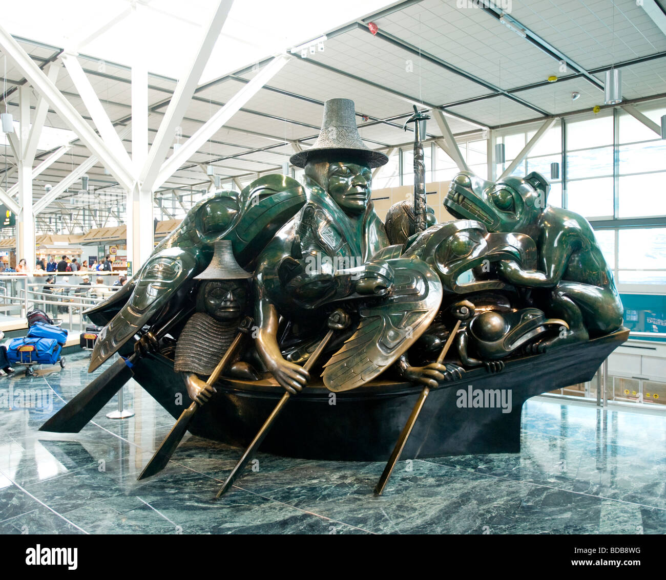 The Bill Reid sculpture, The Spirit of Haida Gwaii, at the Vancouver International Airport.  Vancouver BC, Canada. - Stock Image