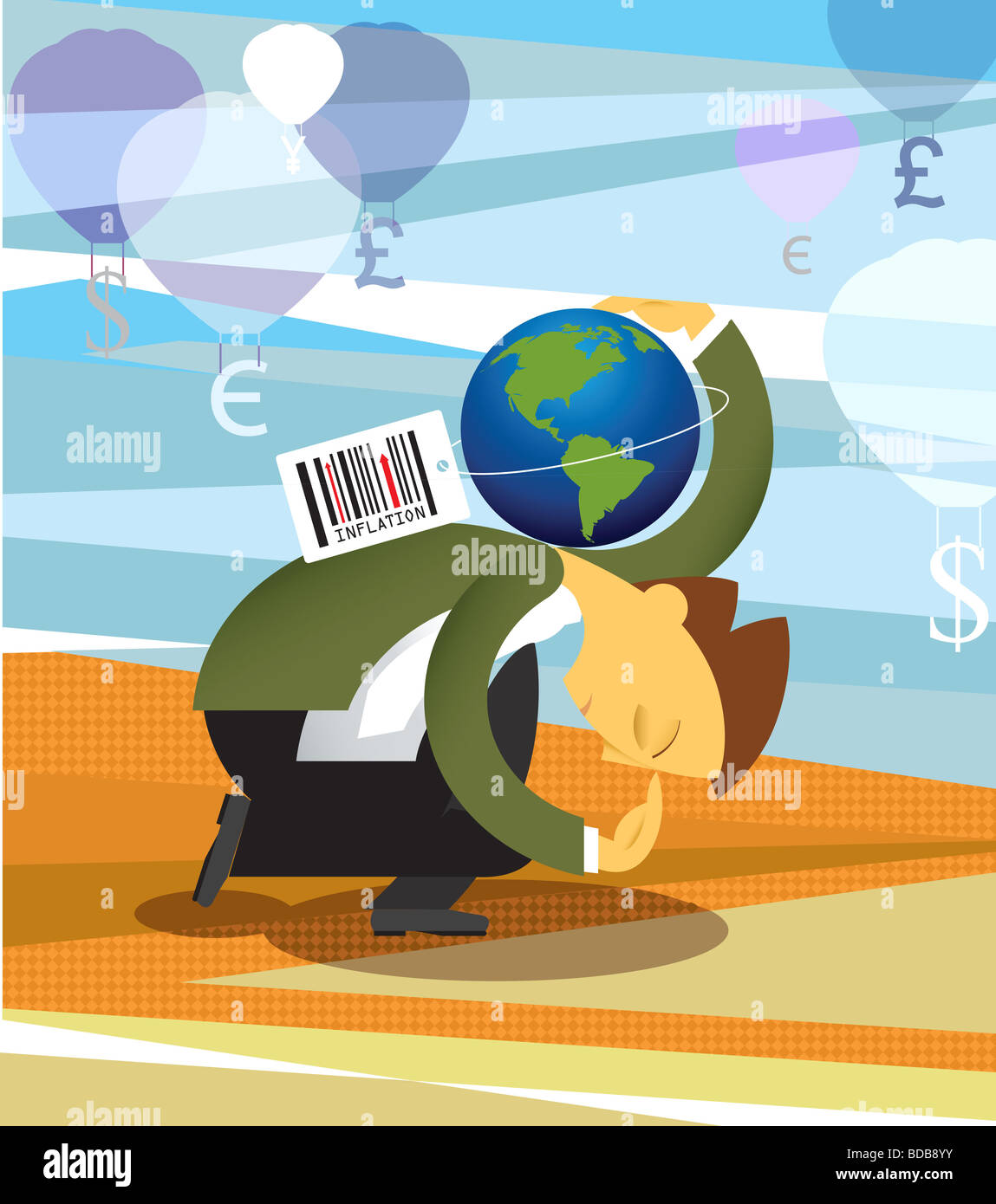 Conceptual image representing inflation in economy - Stock Image