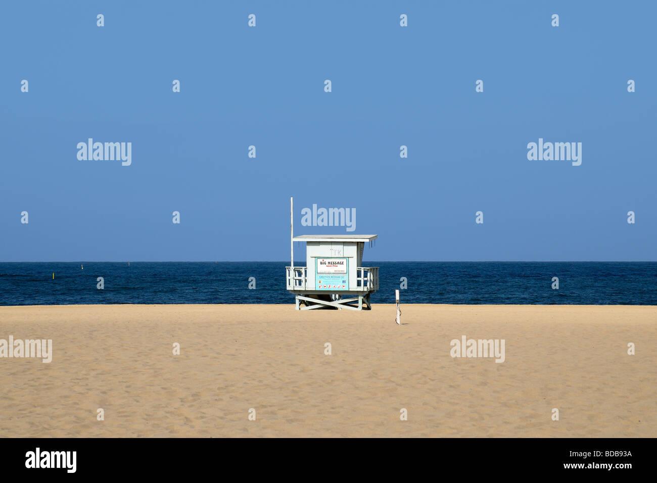 Lifeguard tower on deserted beach, Hermosa Beach, California, USA - Stock Image