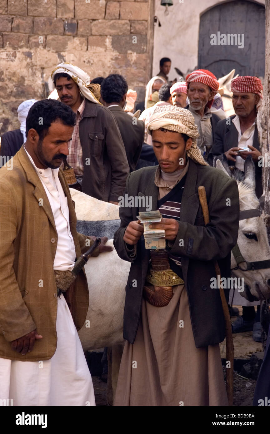 A man purchasing a donkey from a merchant counting his money, at the donkey market in the souq of the old city of - Stock Image