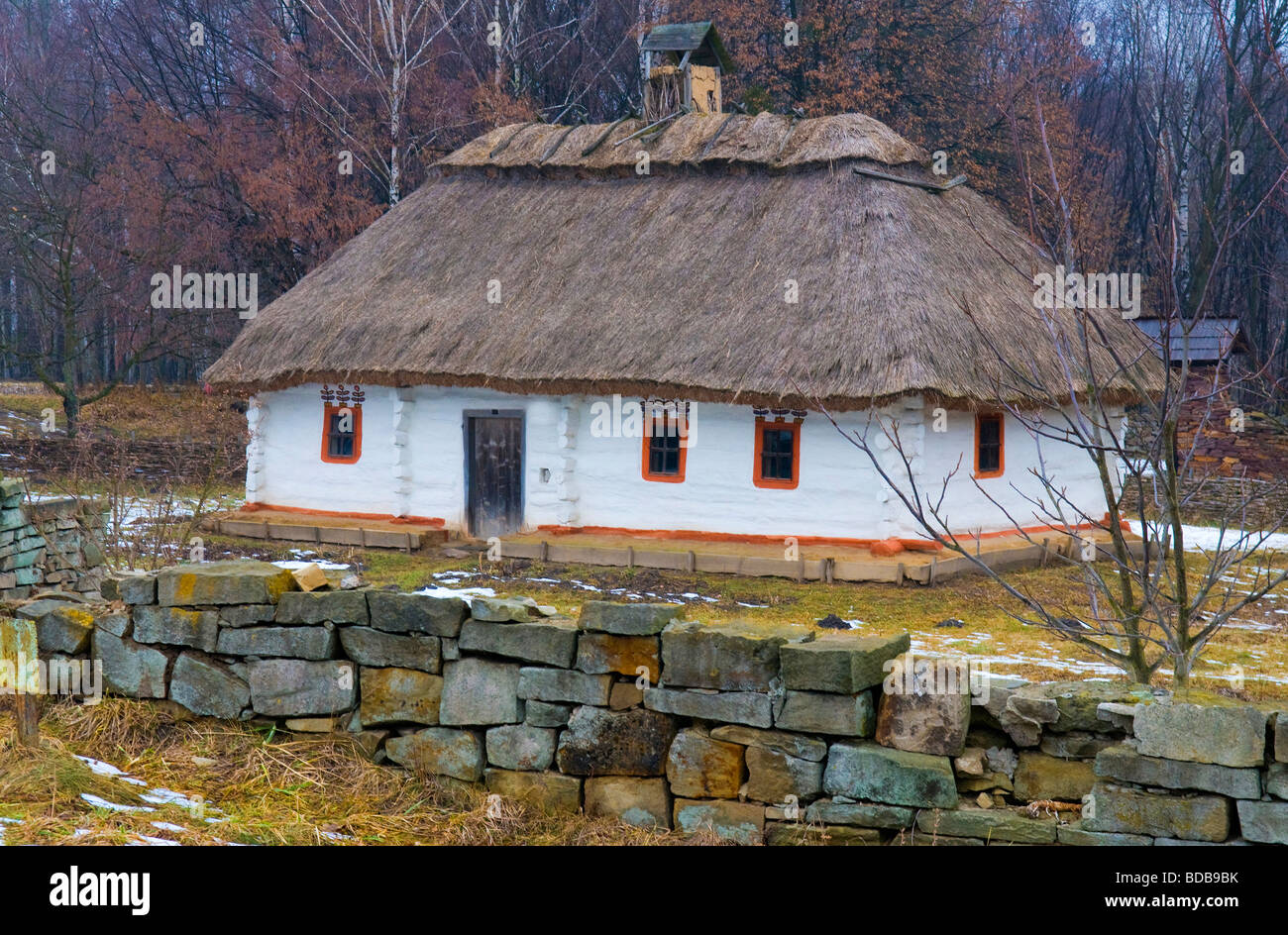 Ukranian village near Kiev in winter time - Stock Image