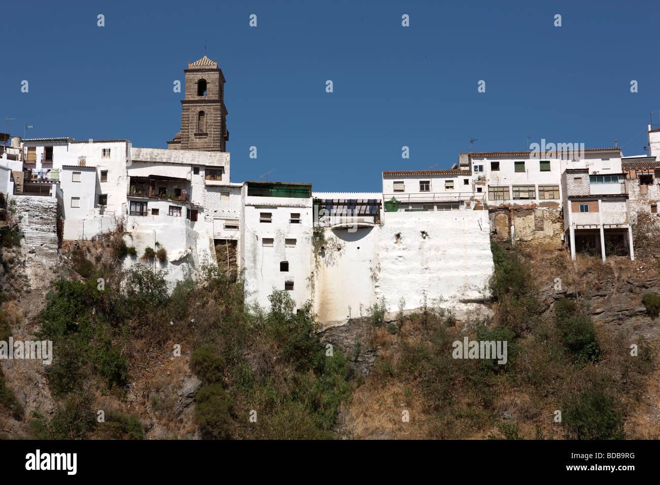 View at the white village Alora. Malaga. Costa del Sol. Andalucia. Spain. Europe Stock Photo