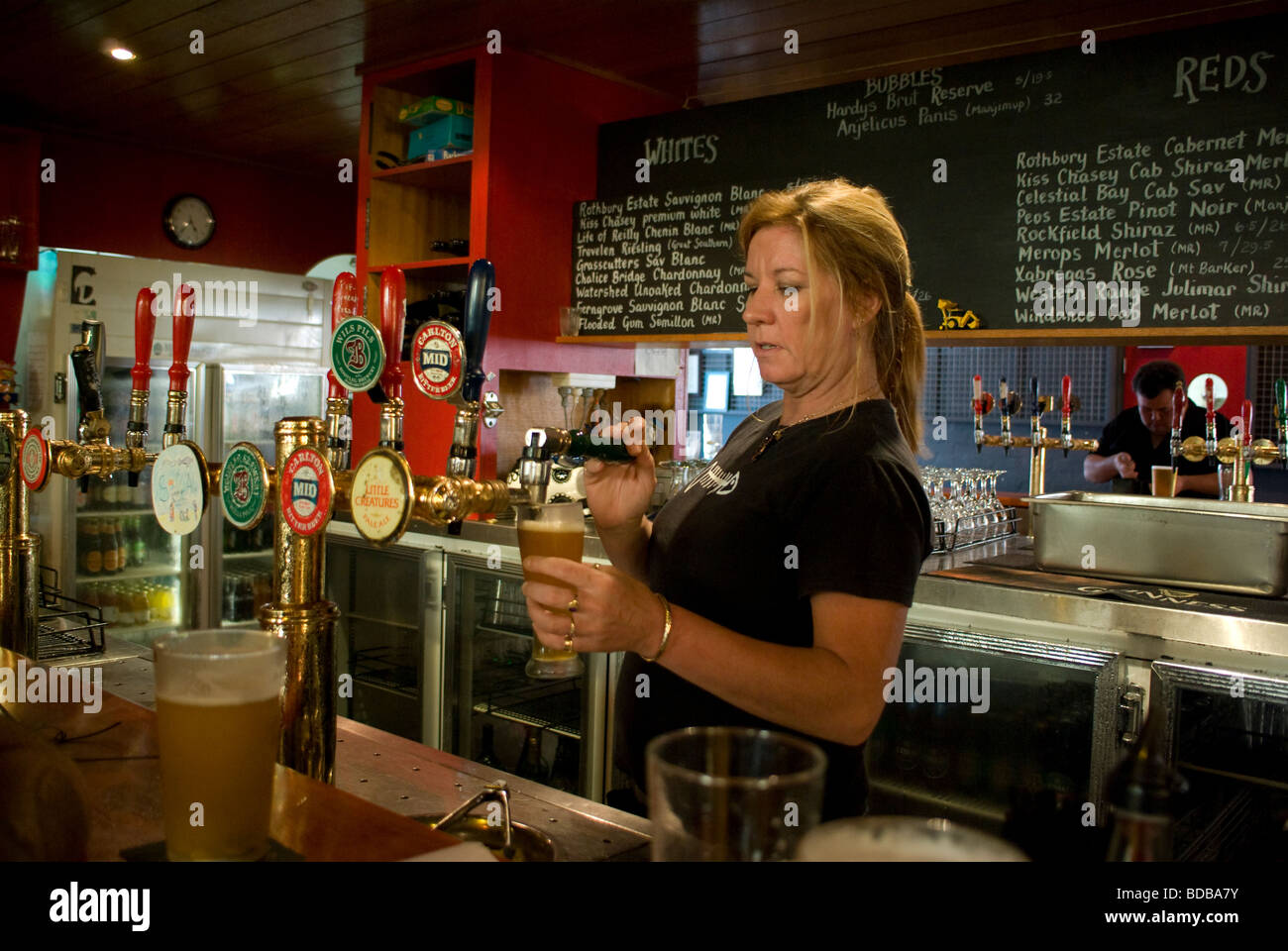 Bar counter at an australian hotel showing barmaid pouring for Bar counter photos