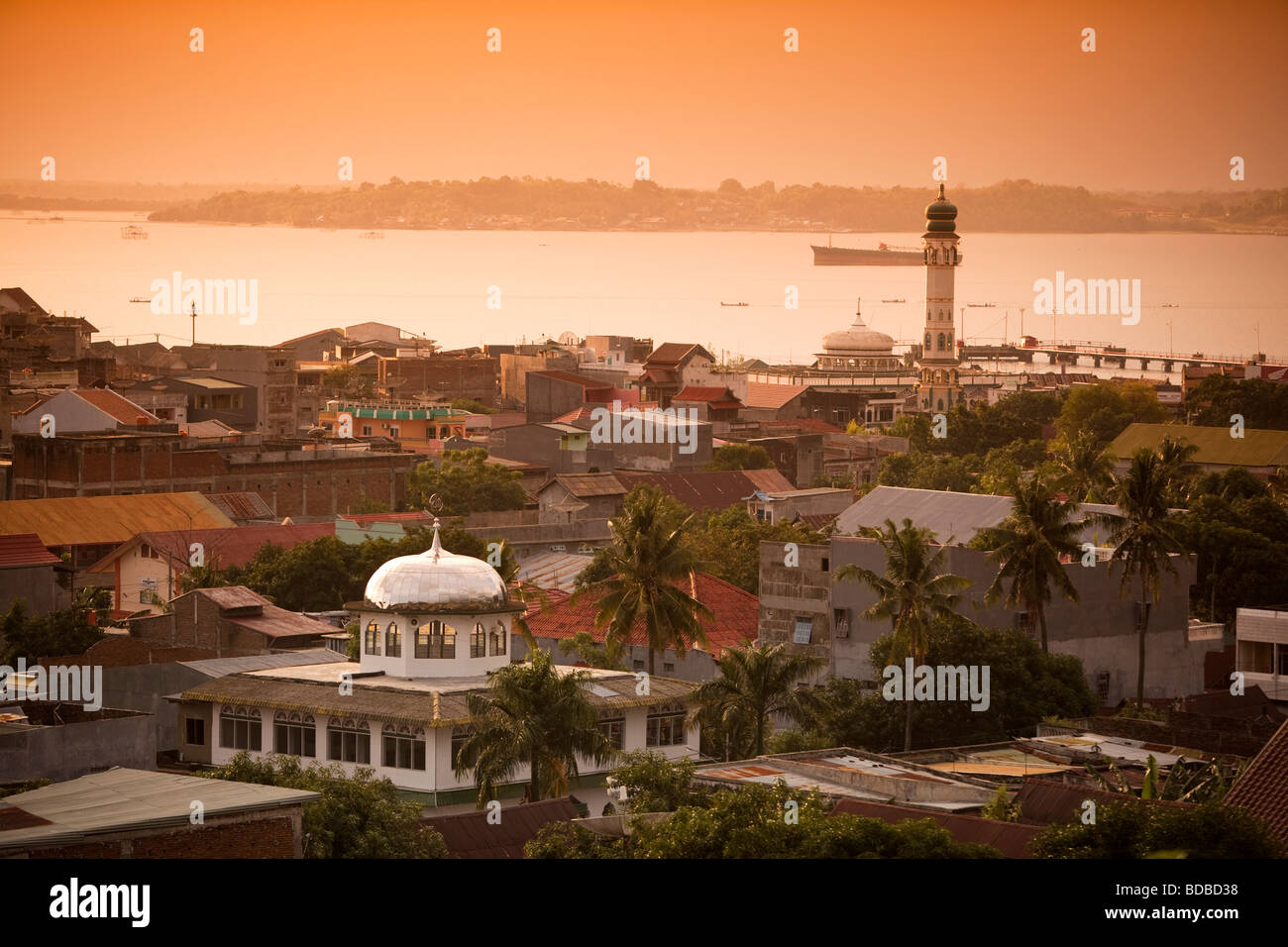 Indonesia Sulawesi West Coast Pare Pare town centre in late afternoon light - Stock Image