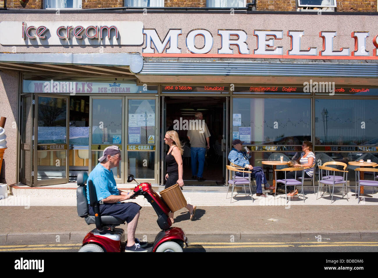 The exterior of Morelli's Ice Cream Parlour on the promenade at Broadstairs in Kent at the English Seaside Stock Photo