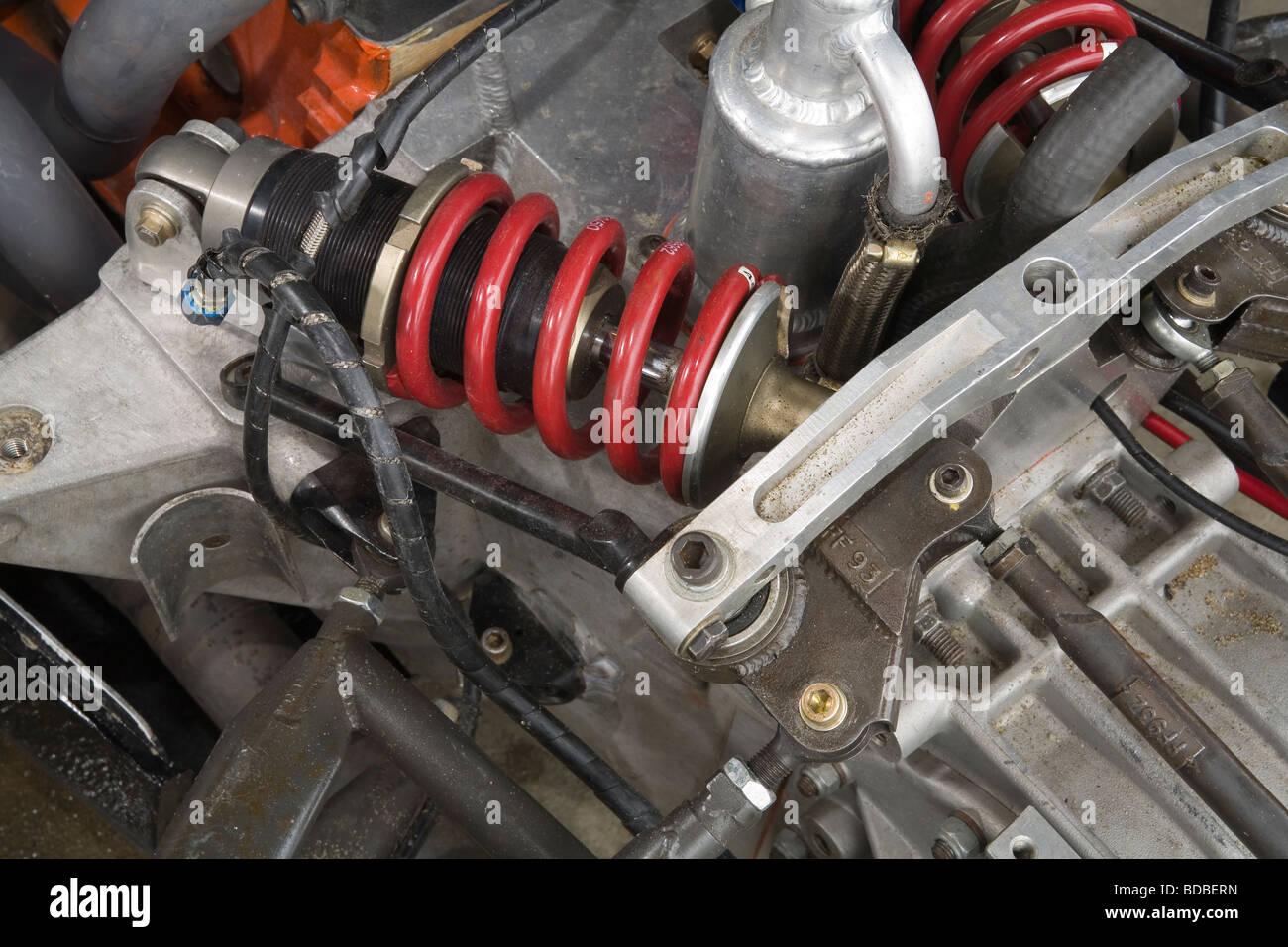 Shock absorber setup on an open wheeler race car Stock Photo