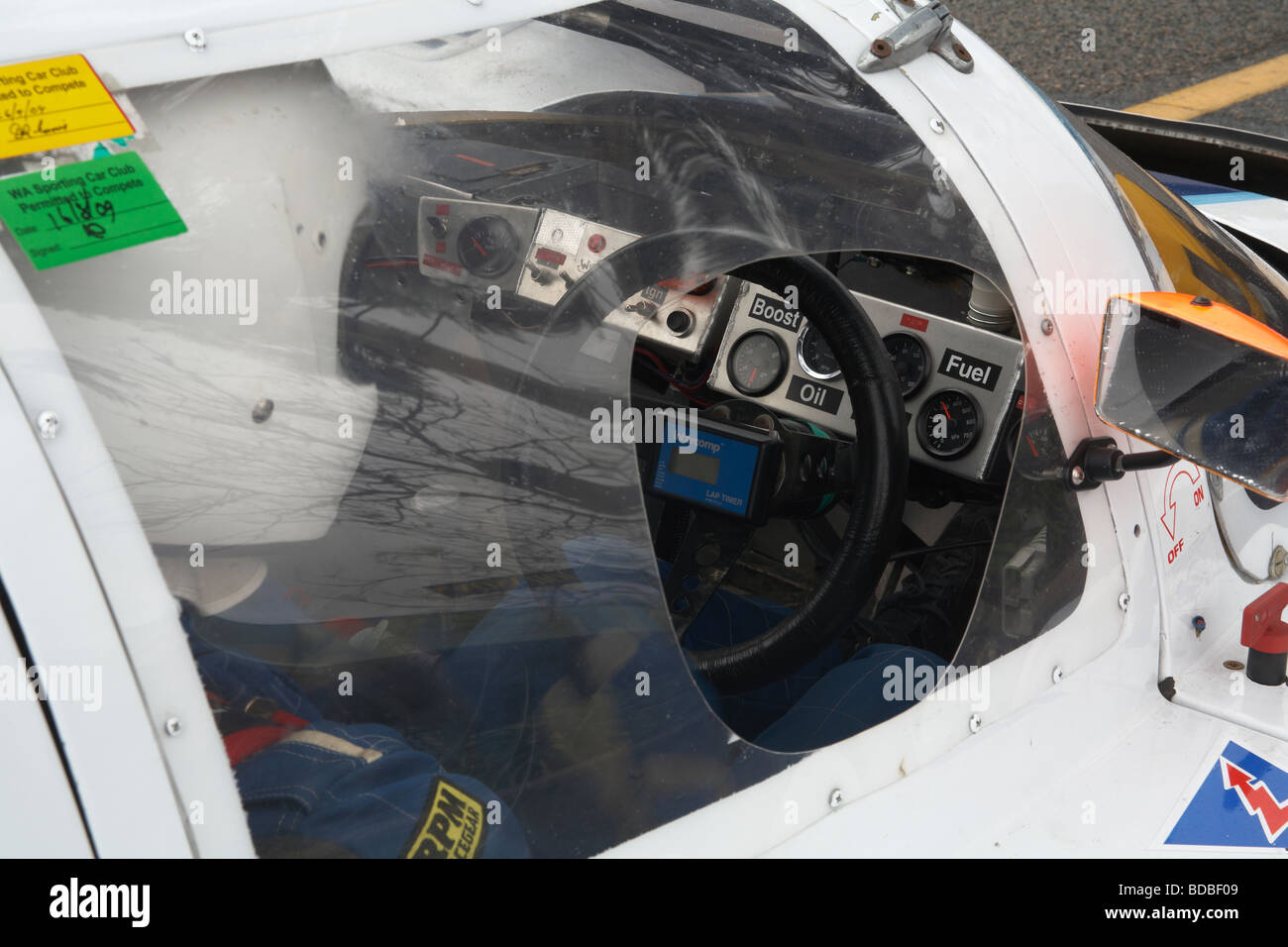 Looking into the cockpit of a circuit race car - Stock Image