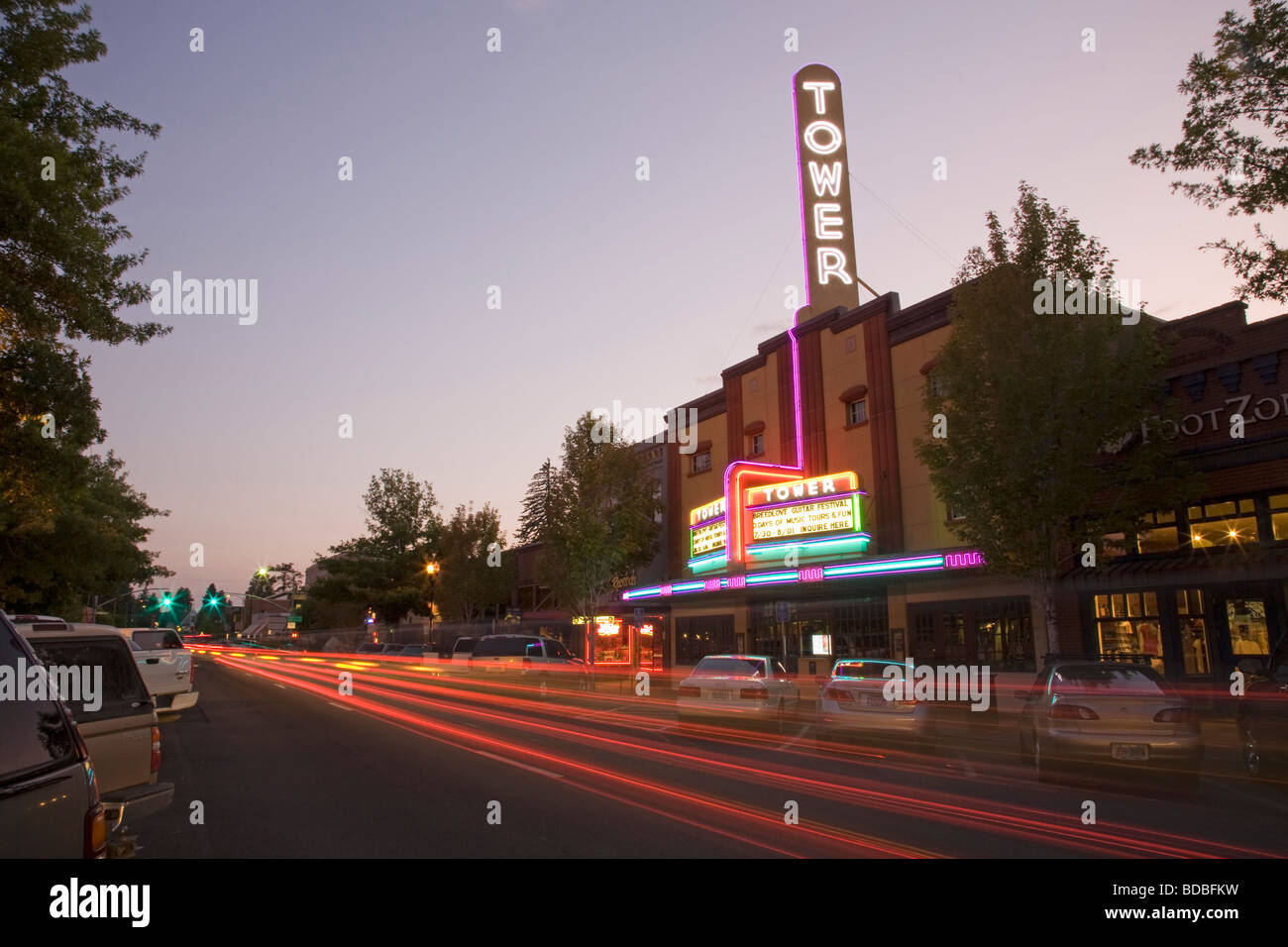 Historic Tower theater and shops on Wall Street in Downtown Bend Oregon. - Stock Image
