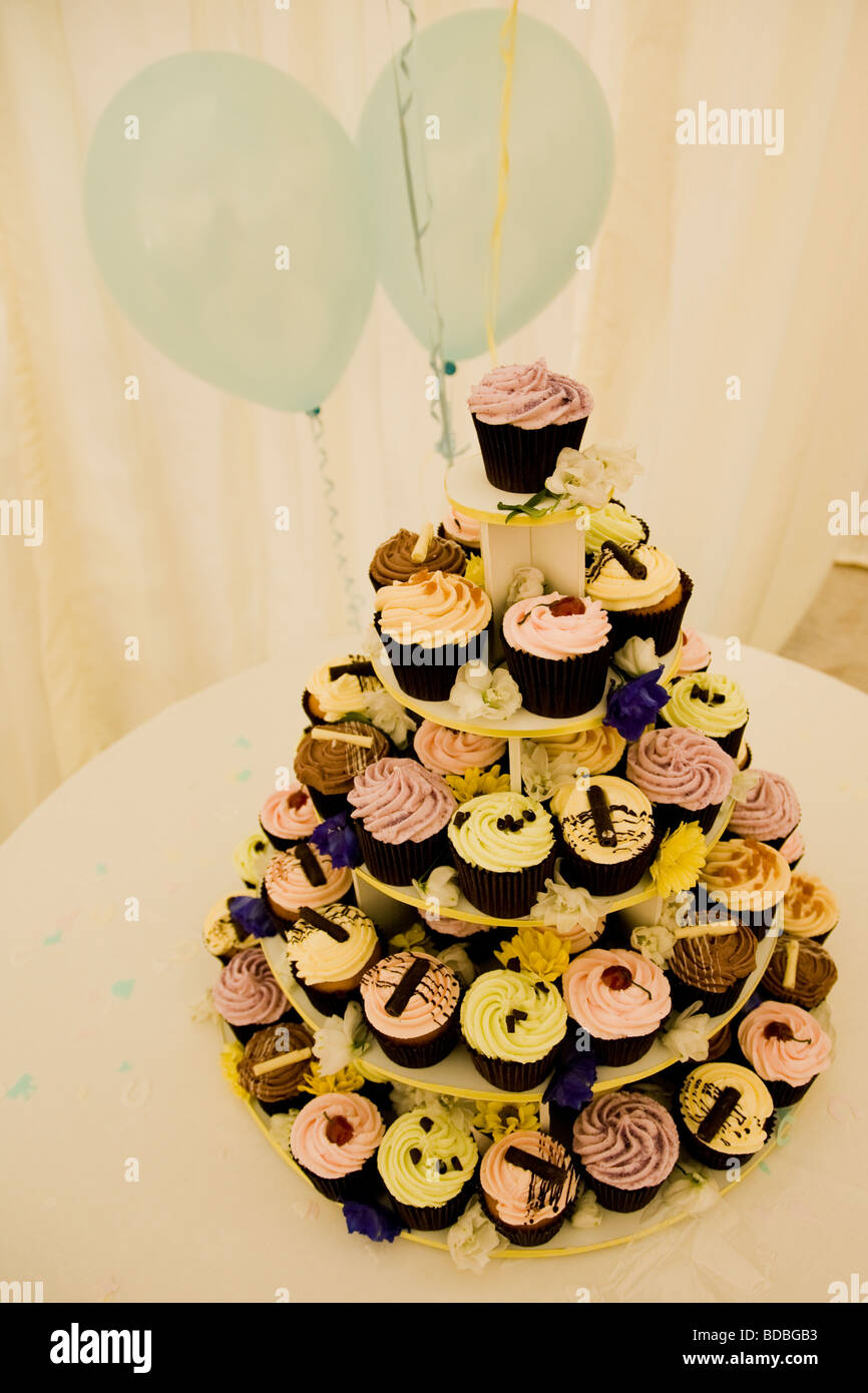Five Tier Wedding Cake made up of Cup Cakes Stock Photo: 25455223 ...