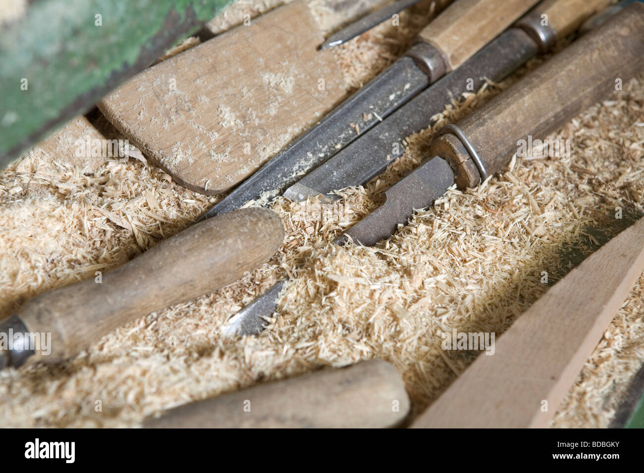 still life of knifes for cutting wood - Stock Image