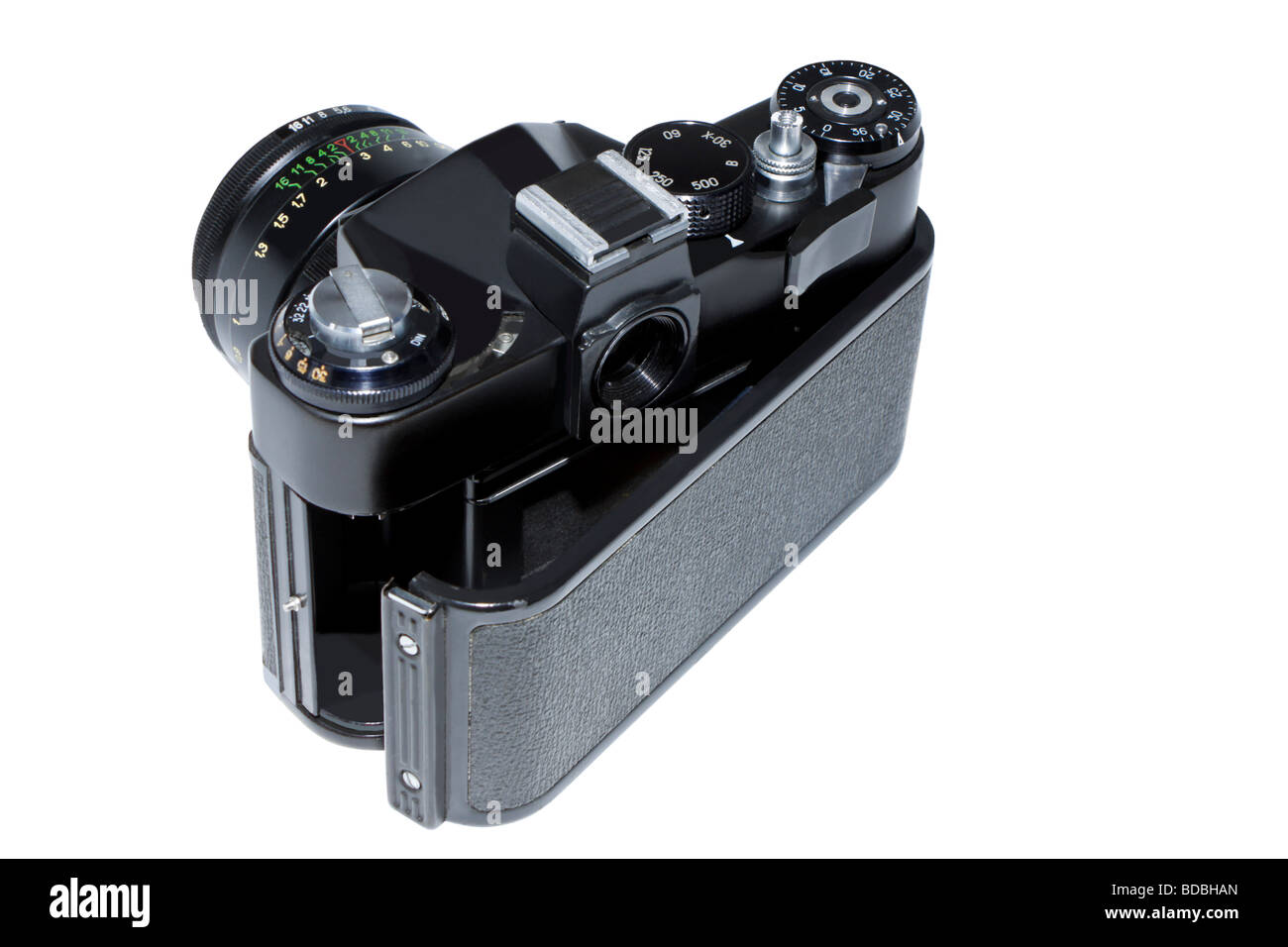 the old mirror film camera - the reliable friend of photographers 20 years ago Stock Photo