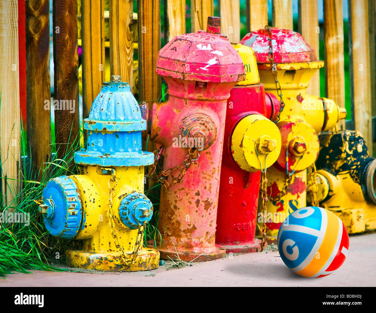 Colorful old fire hydrants painted in bright colors, sitting on sidewalk against wood fence and child's rubber - Stock Image