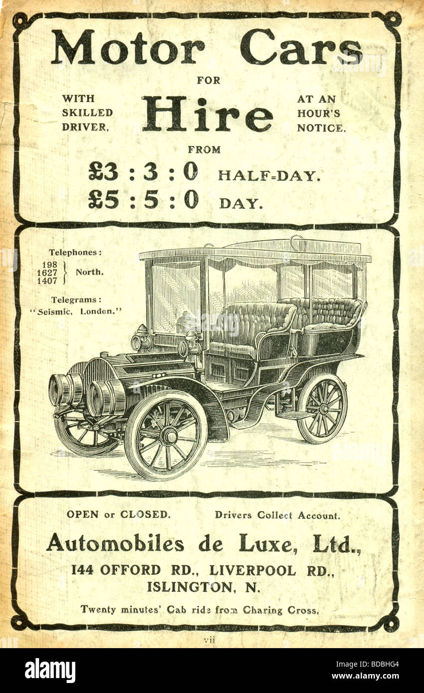 Advertisement For Hire Cars From Automobiles De Luxe Ltd London