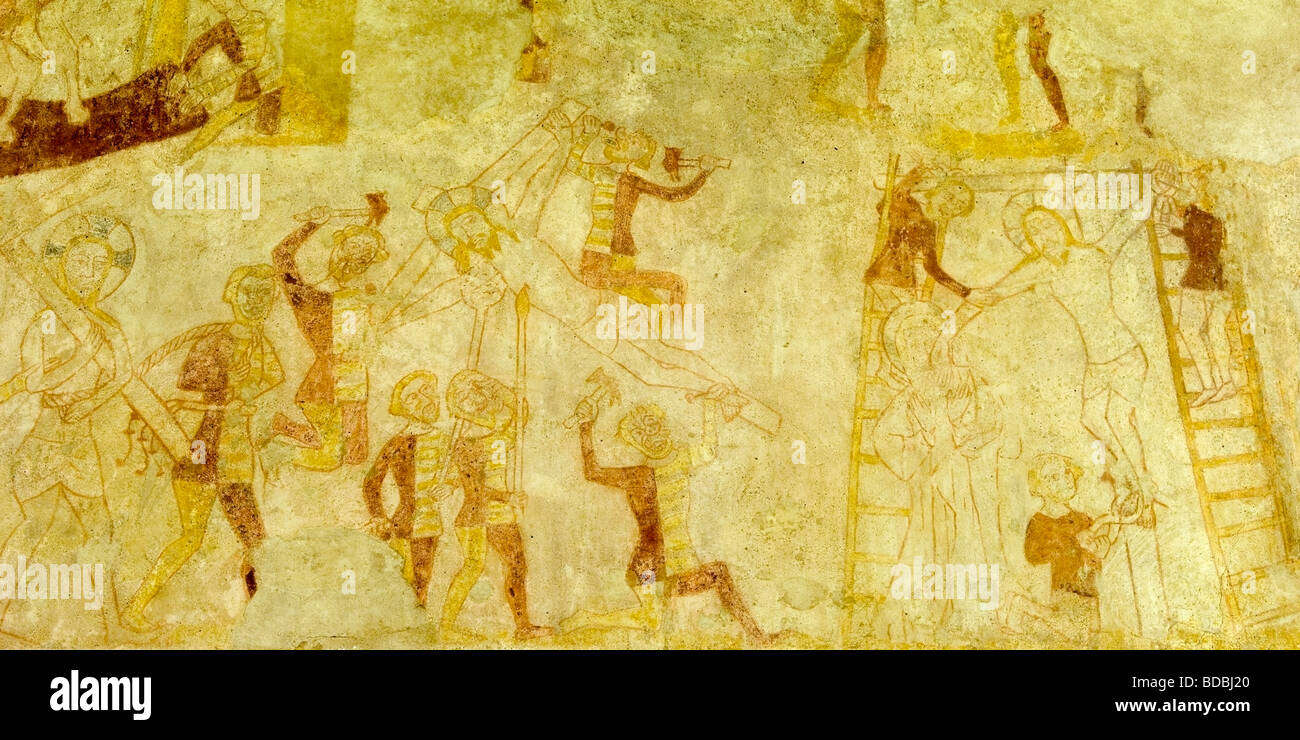 Medieval mural depicting Christ's crucifixion, St Botolph's church, North Cove, Suffolk, England Stock Photo