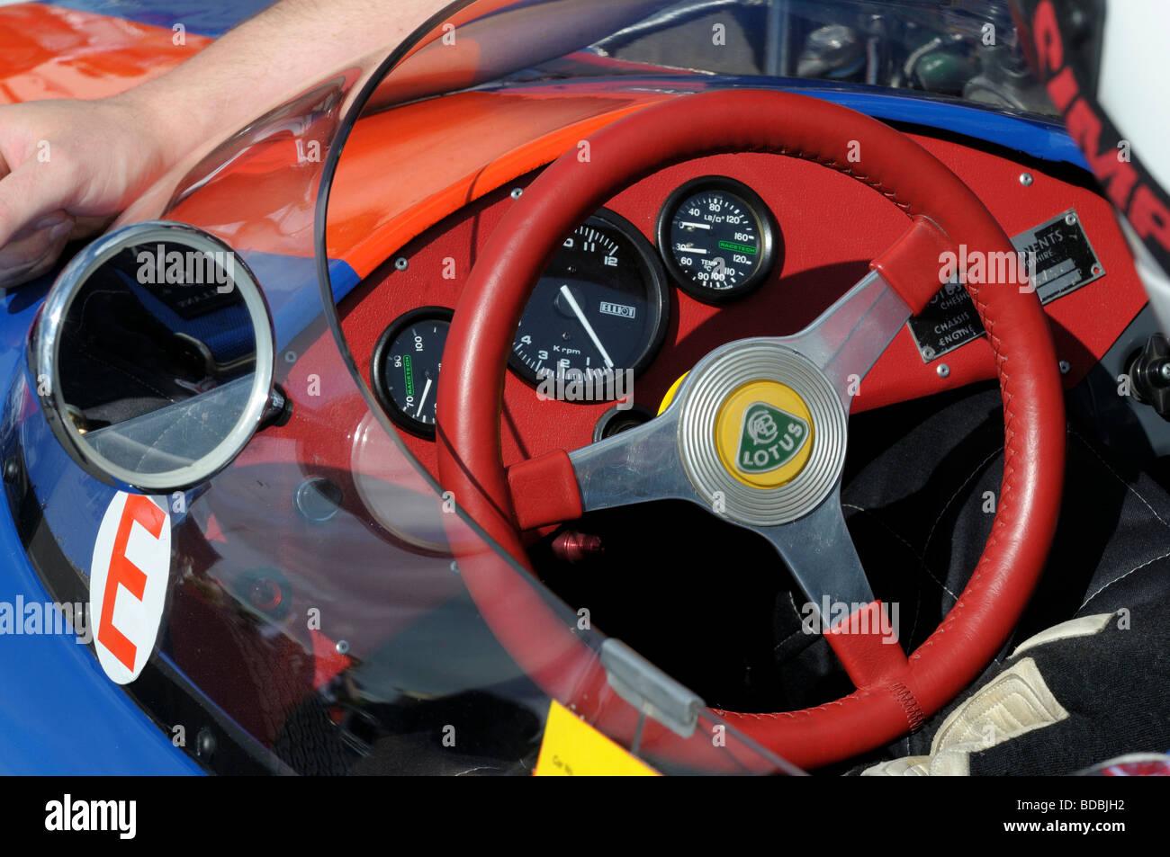 Lotus racing car cockpit Silverstone Classic 2009 - Stock Image
