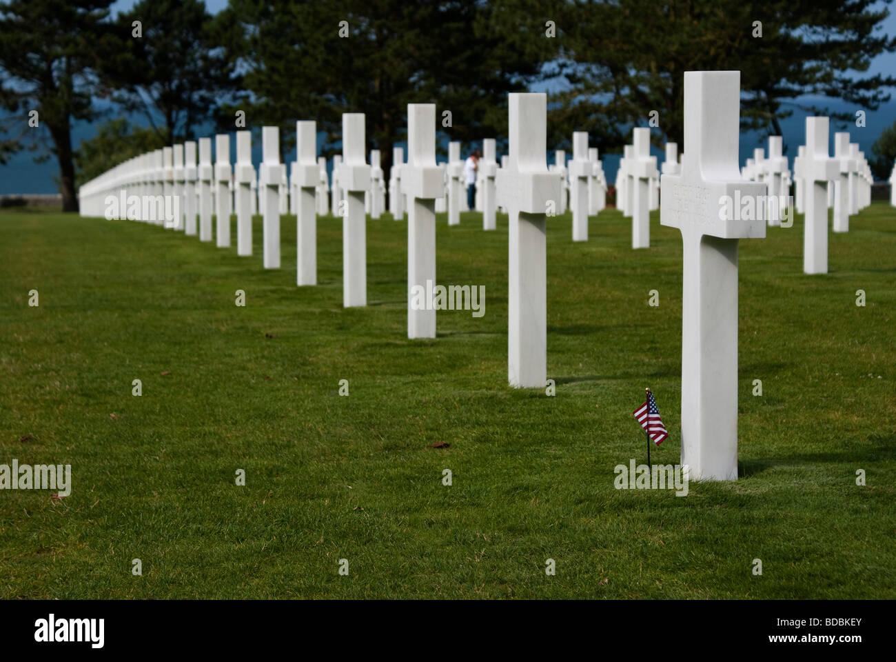Normandy American Cemetery and Memorial in omaha beach in Colleville-sur-Mer Stock Photo