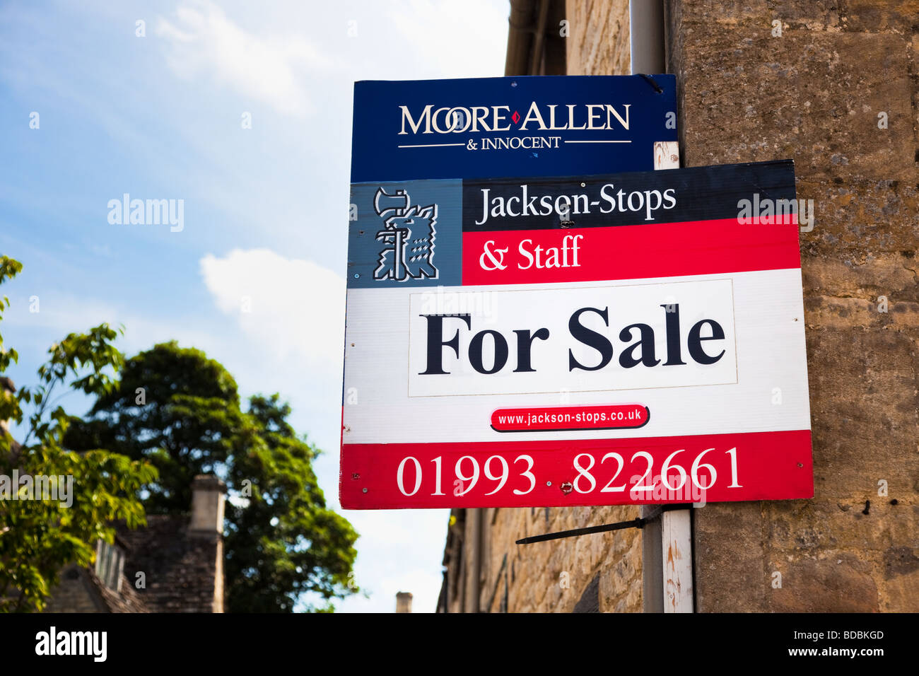 For Sale sign on a house in England UK - Stock Image