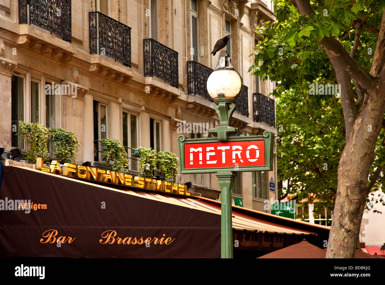 Metro station sign, Paris France - Stock Image