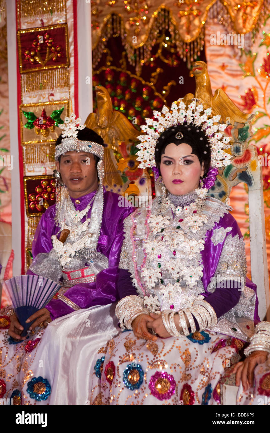 Indonesia Sulawesi Sidereng village bride and groom at muslim marriage celebration Stock Photo