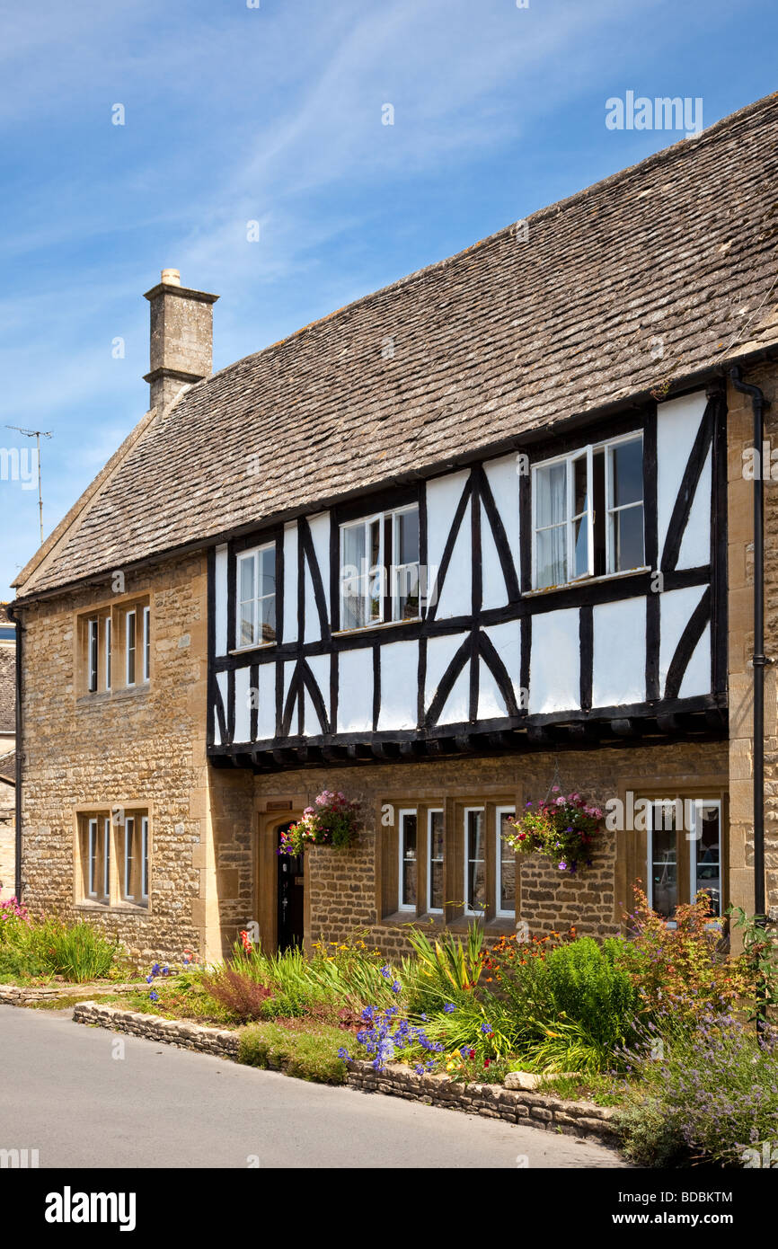 New build houses with mock Tudor front in Northleach, Gloucestershire, England UK - Stock Image