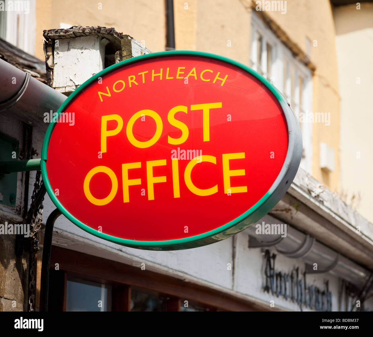 Post Office sign at Northleach, Gloucester, England, UK - Stock Image