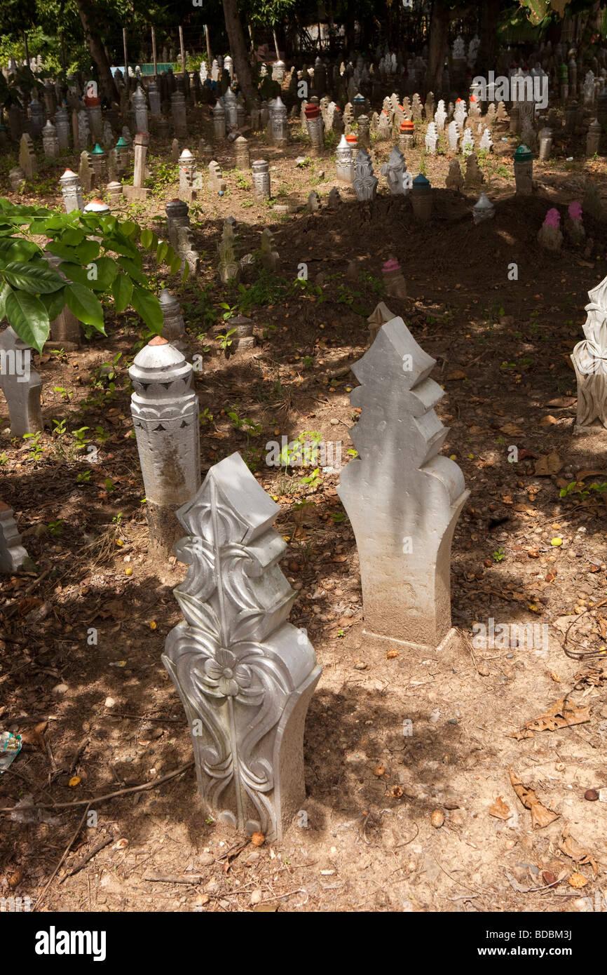 Indonesia Sulawesi Sidereng muslim cemetery unusually shaped gravestones - Stock Image