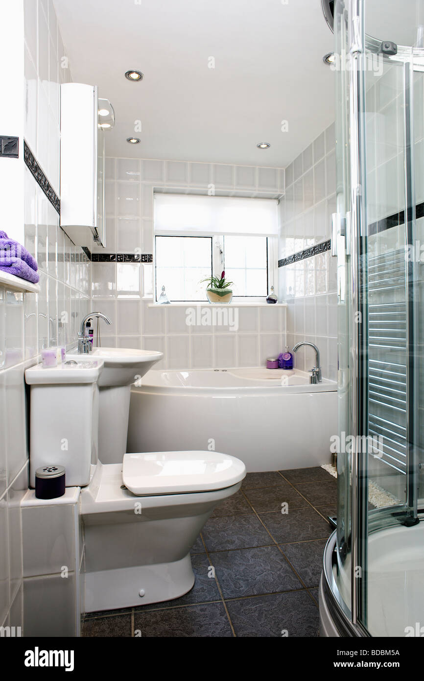 Modern grey tiled bathroom with white toilet and bath and slate ...