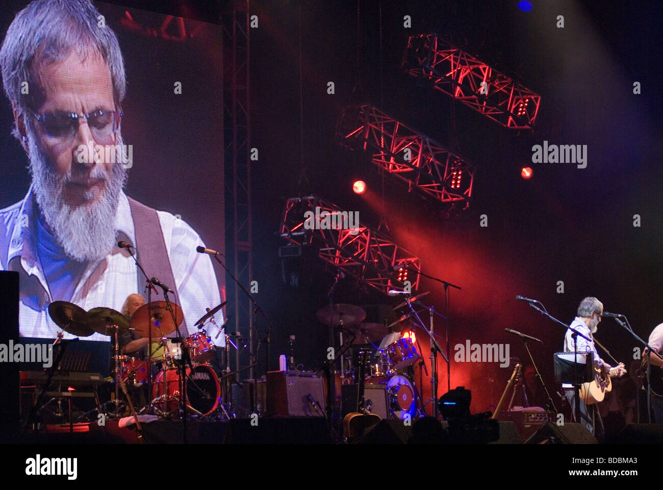 Yusuf Islam Cat Stevens performing at the Fairport Cropredy Convention music festival 2009 This was the first music Stock Photo