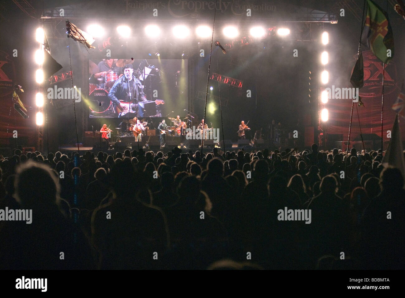 Richard Thompson playing at Fairport s Cropredy Convention friendly music festive near Banbury Oxfordshire on the - Stock Image