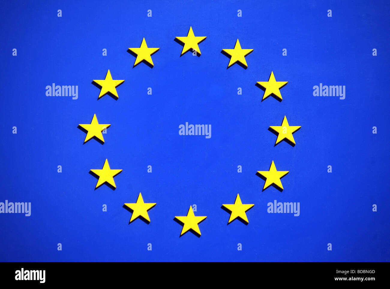 Symbolic picture of a the European Union flag - Stock Image