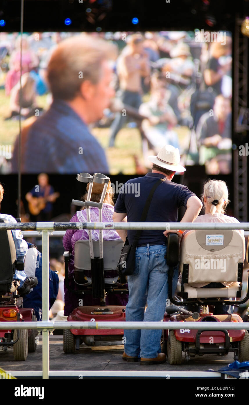 disabled wheelchair access Fairport s Cropredy Convention friendly music festive near Banbury Oxfordshire south - Stock Image