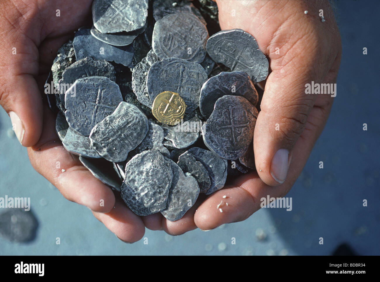 Doubloons recovered from the shipwreck Las Maravillas sunk in 1658 Bahamas  - Stock Image
