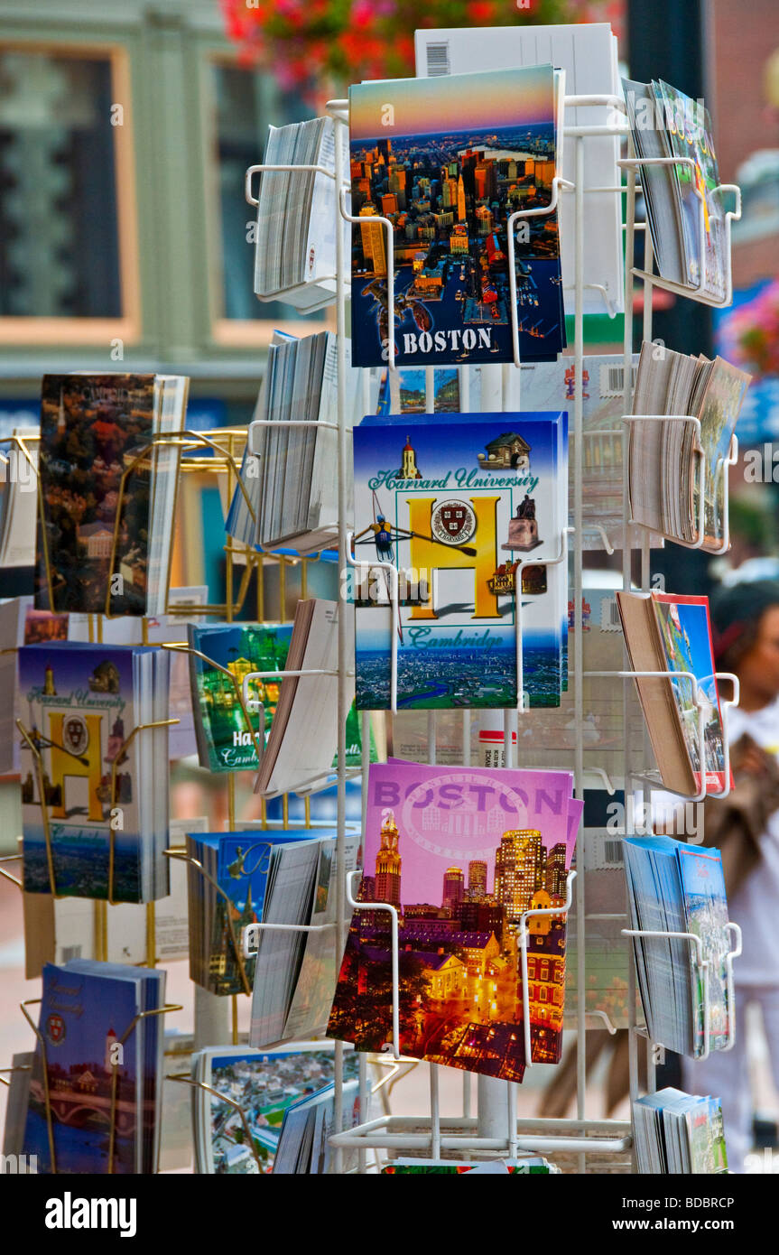 Postcards on sale Harvard Square Boston massachusetts - Stock Image