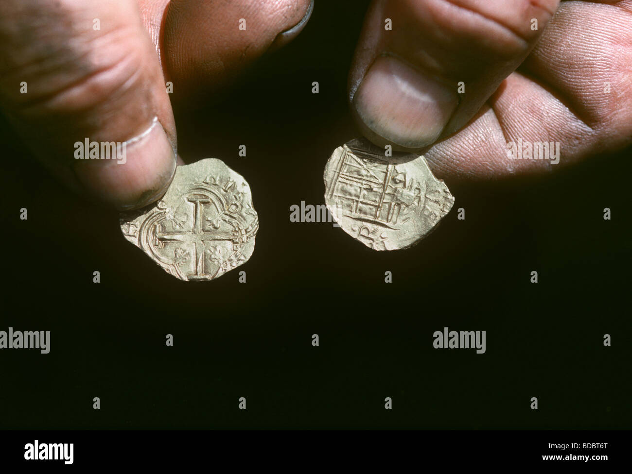 Gold and Silver Doubloons recovered from the shipwreck Las Maravillas sunk in 1658 Bahamas  - Stock Image
