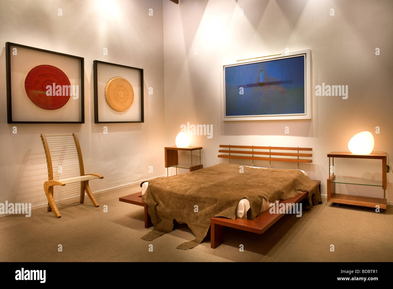 Modern Bedroom Designed By Chilean Architect Leo Carreno   Stock Image