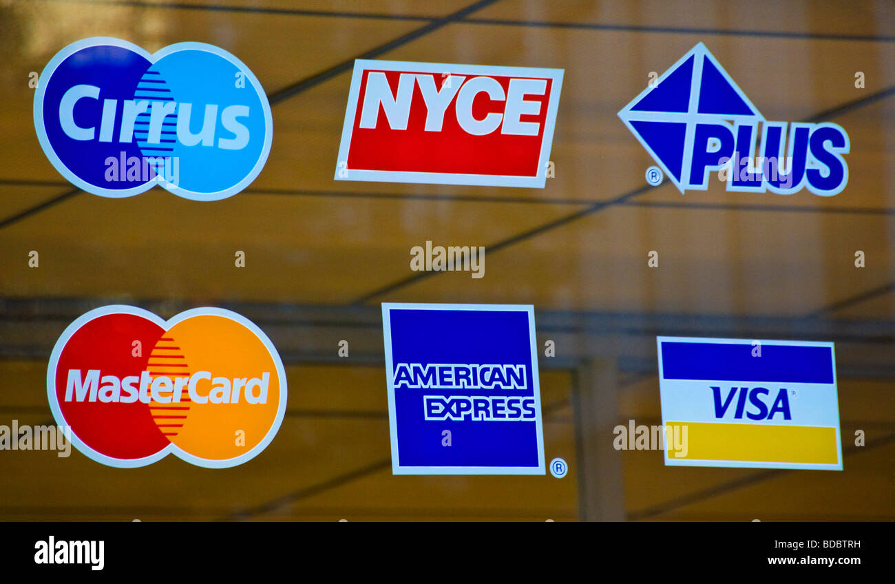 Credit cards and debit cards methods of payment Boston USA Stock Photo
