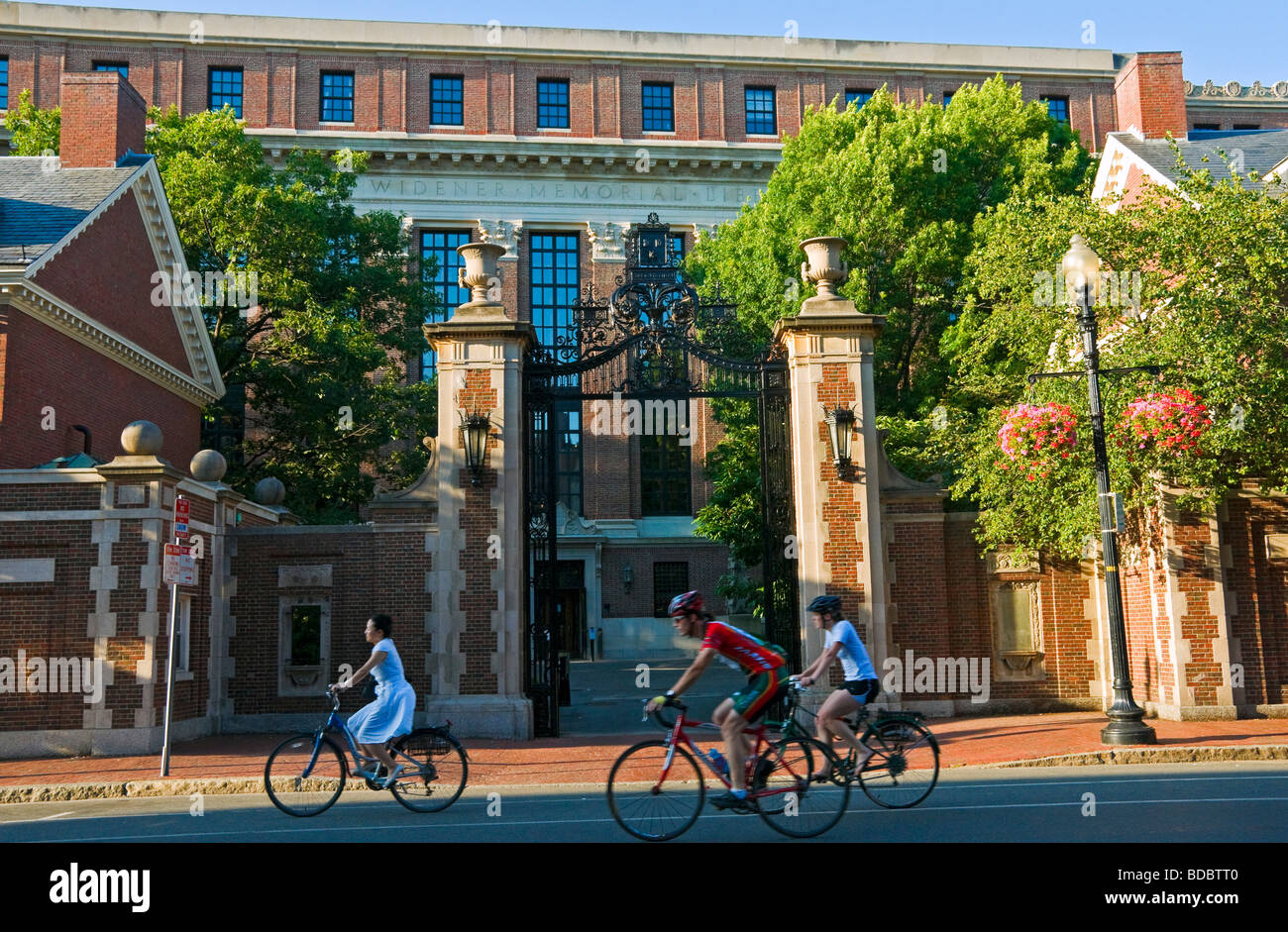People biking in front of Harvard University on Massachusetts avenue Boston - Stock Image