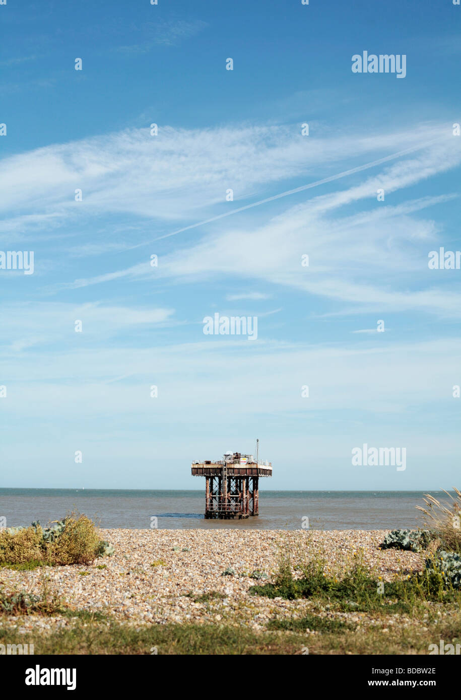 Offshore cooling water inlet / outlet point for Sizewell nuclear power station, Suffolk UK. - Stock Image