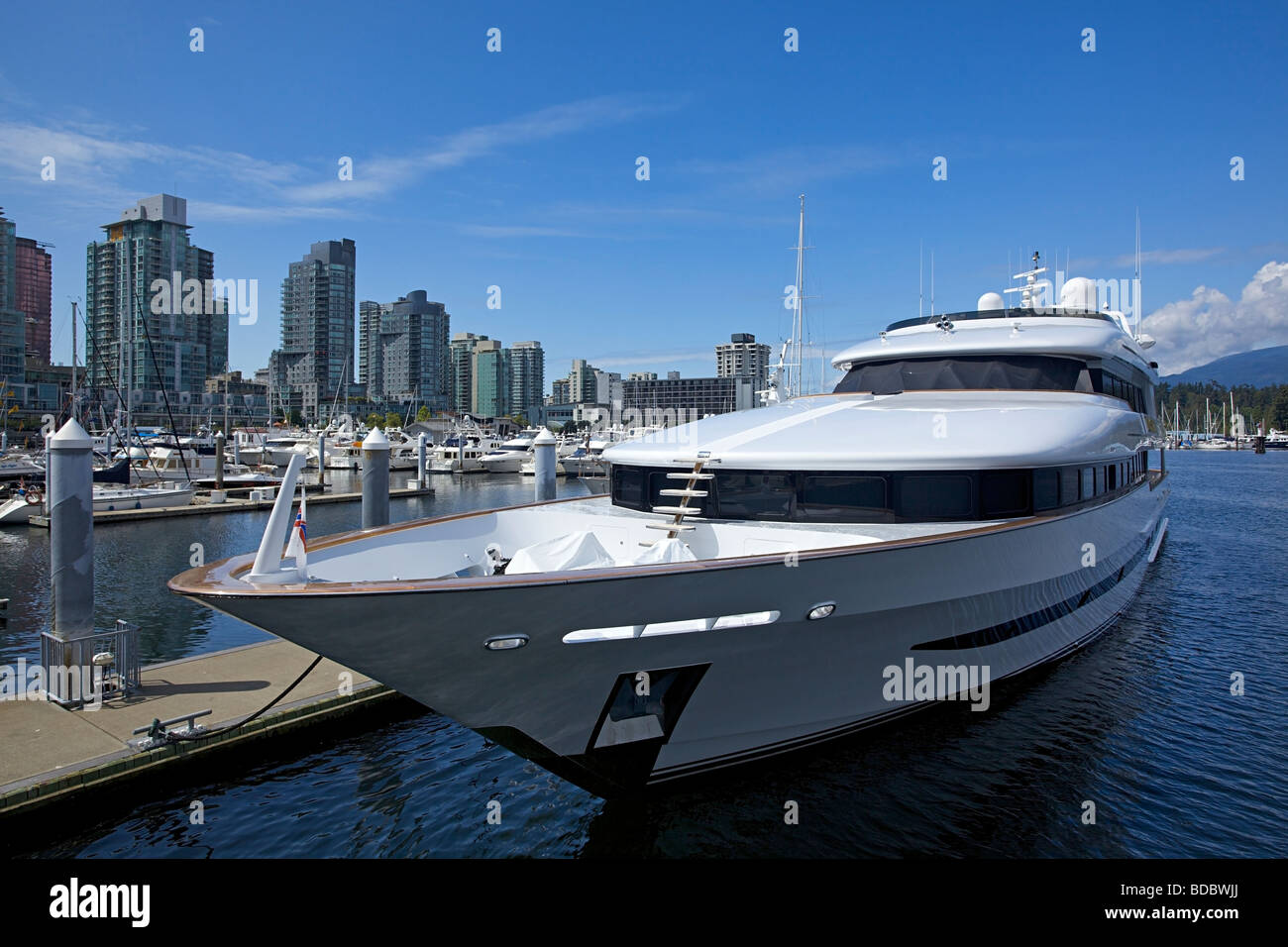 Luxury yacht docked in Coal Harbour, Vancouver, British Columbia, Canada - Stock Image