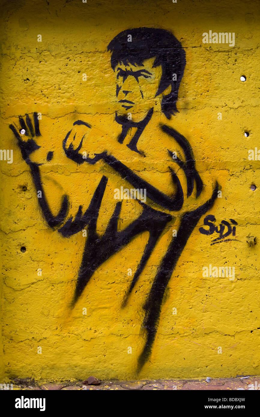 Bruce Lee graffiti on the walls of Tulsi Pipe Road in Mumbai India ...