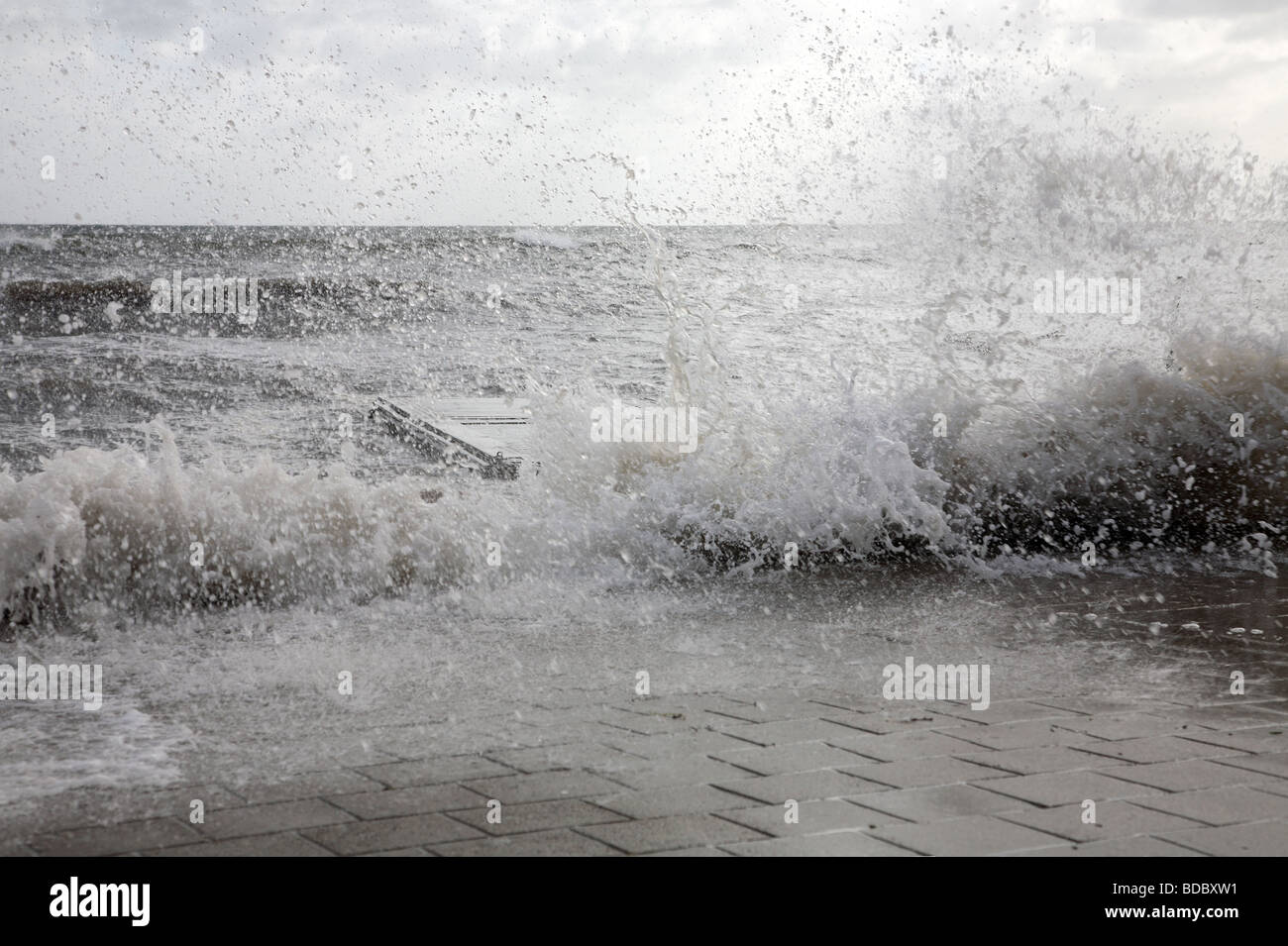Storm and flooding late summer in the Sound at Rungsted Kyst, Denmark. - Stock Image