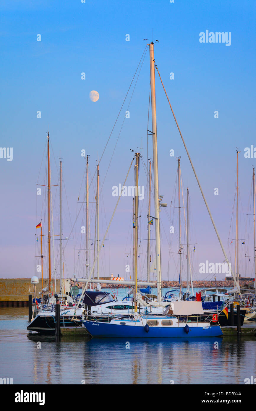 Sailboats in marina in Ystad, Sweden - Stock Image