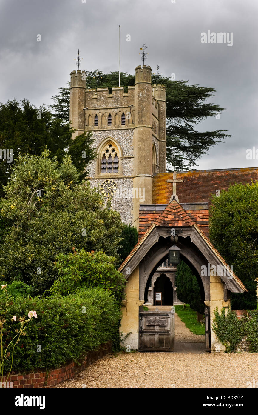 St Mary the Virgin Hambleden village parish church Buckinghamshire UK - Stock Image