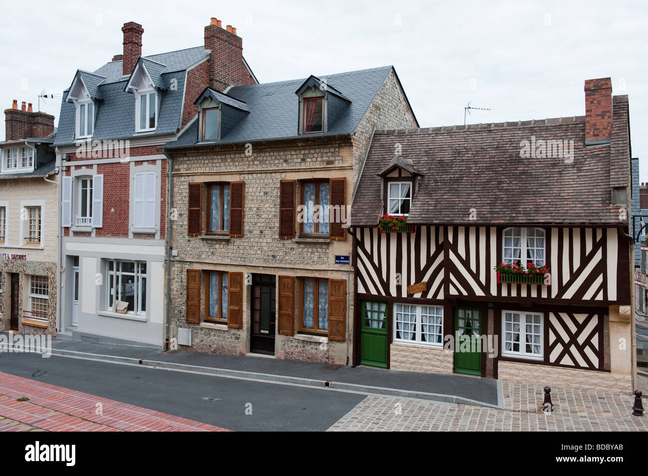 Street Of Quaint French Style Houses In Villerville Normandy Stock Photo Alamy