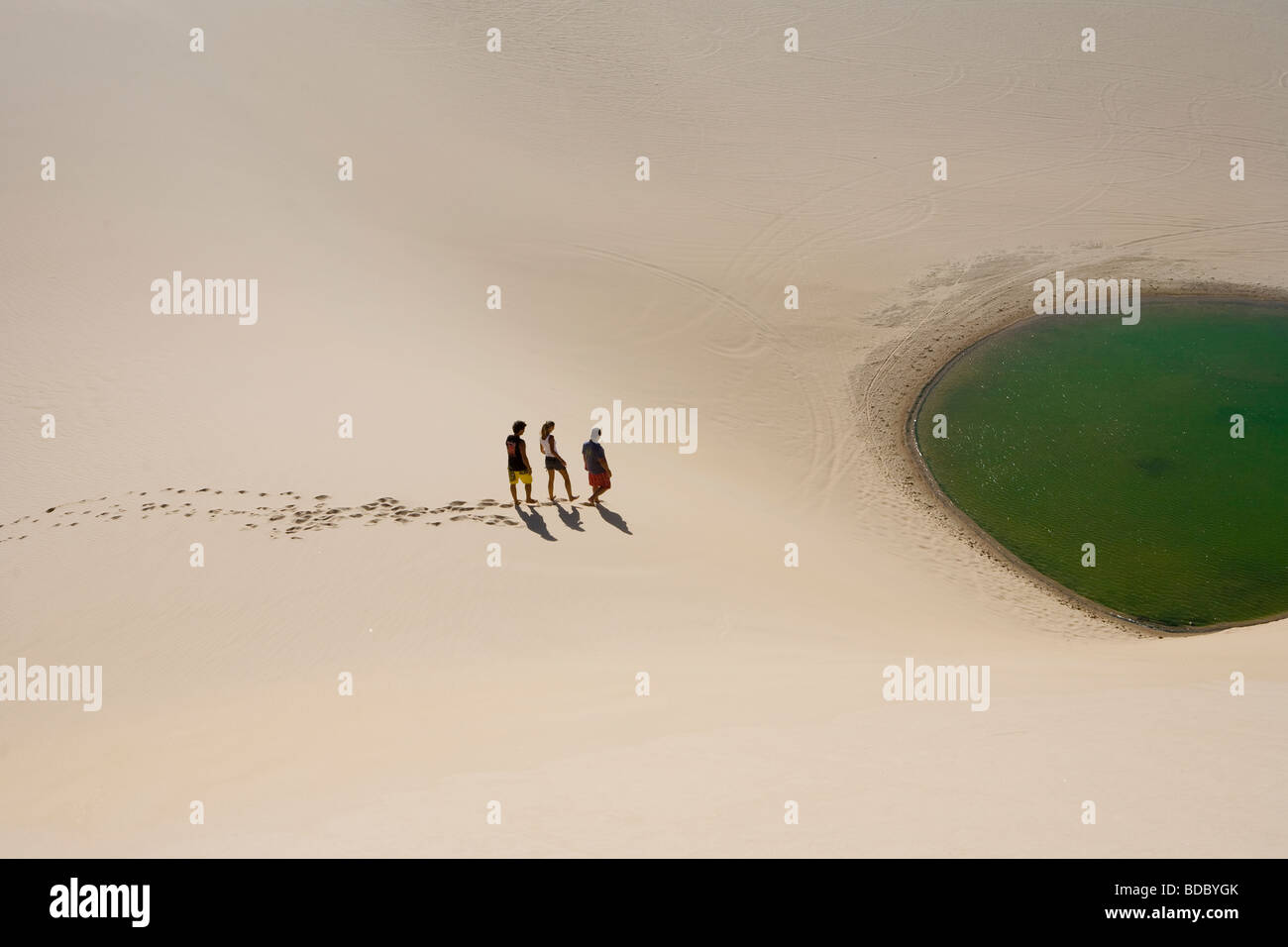 Group of People on Sand Dunes in Mundau Brazil - Stock Image