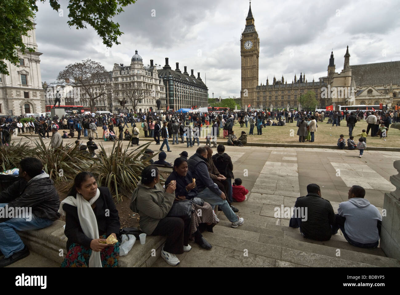 TAMIL REFUGEES PROTESTS IN WETMINSTER BIGBEN AREA TO STOP SRINLANKAN GOVERNMENT TO ASSULT TAMIL VILLAGES - Stock Image