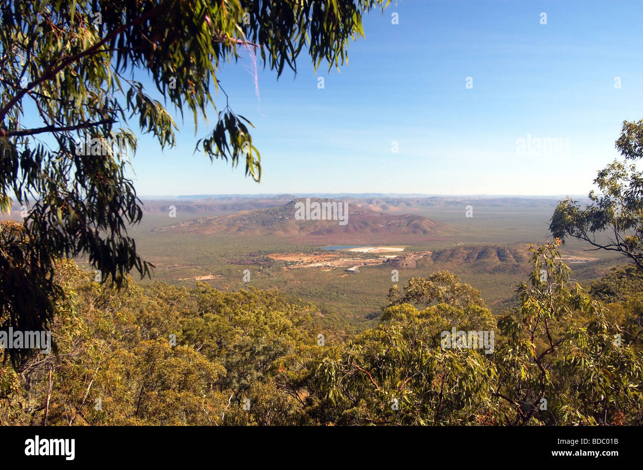 View of opencut tungsten mine at Mount Carbine, from Mt Lewis Forest Reserve, north Queensland, Australia - Stock Image