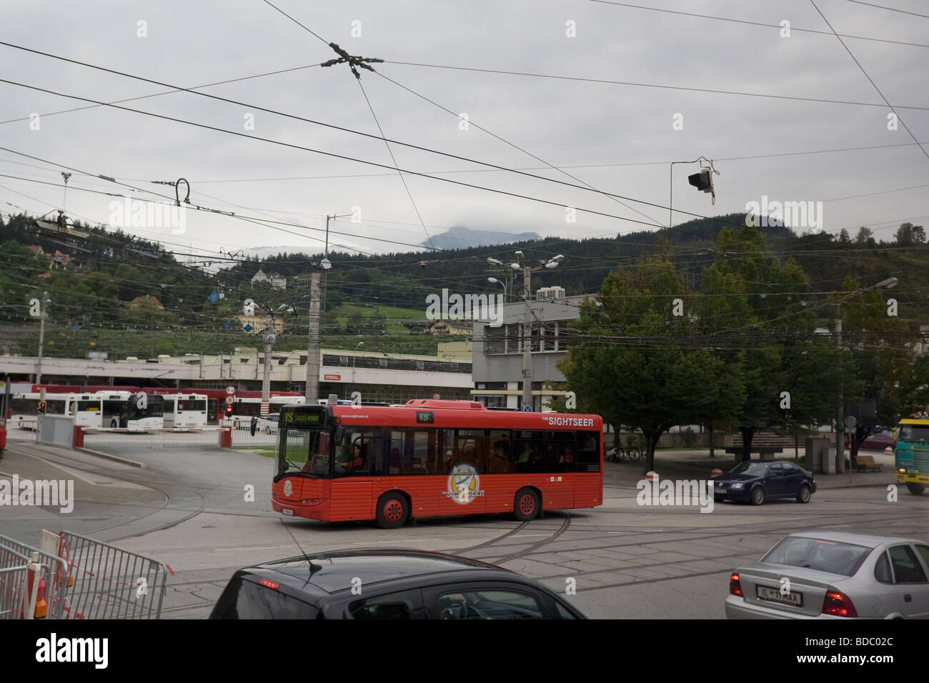 Innsbruck red bus, Austria EU Europe - Stock Image