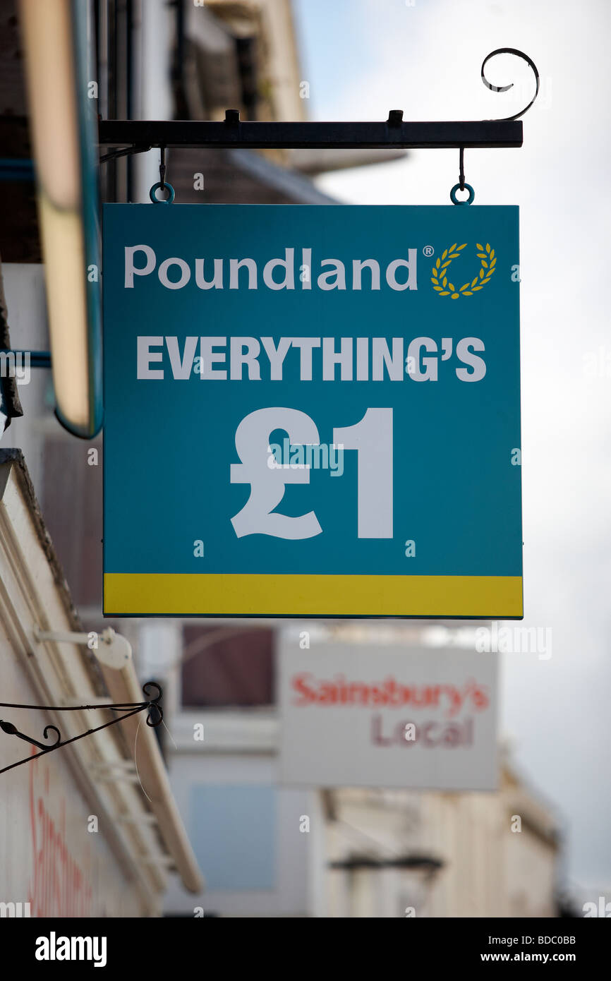 The Poundland store sign in Stratford Upon Avon - Stock Image