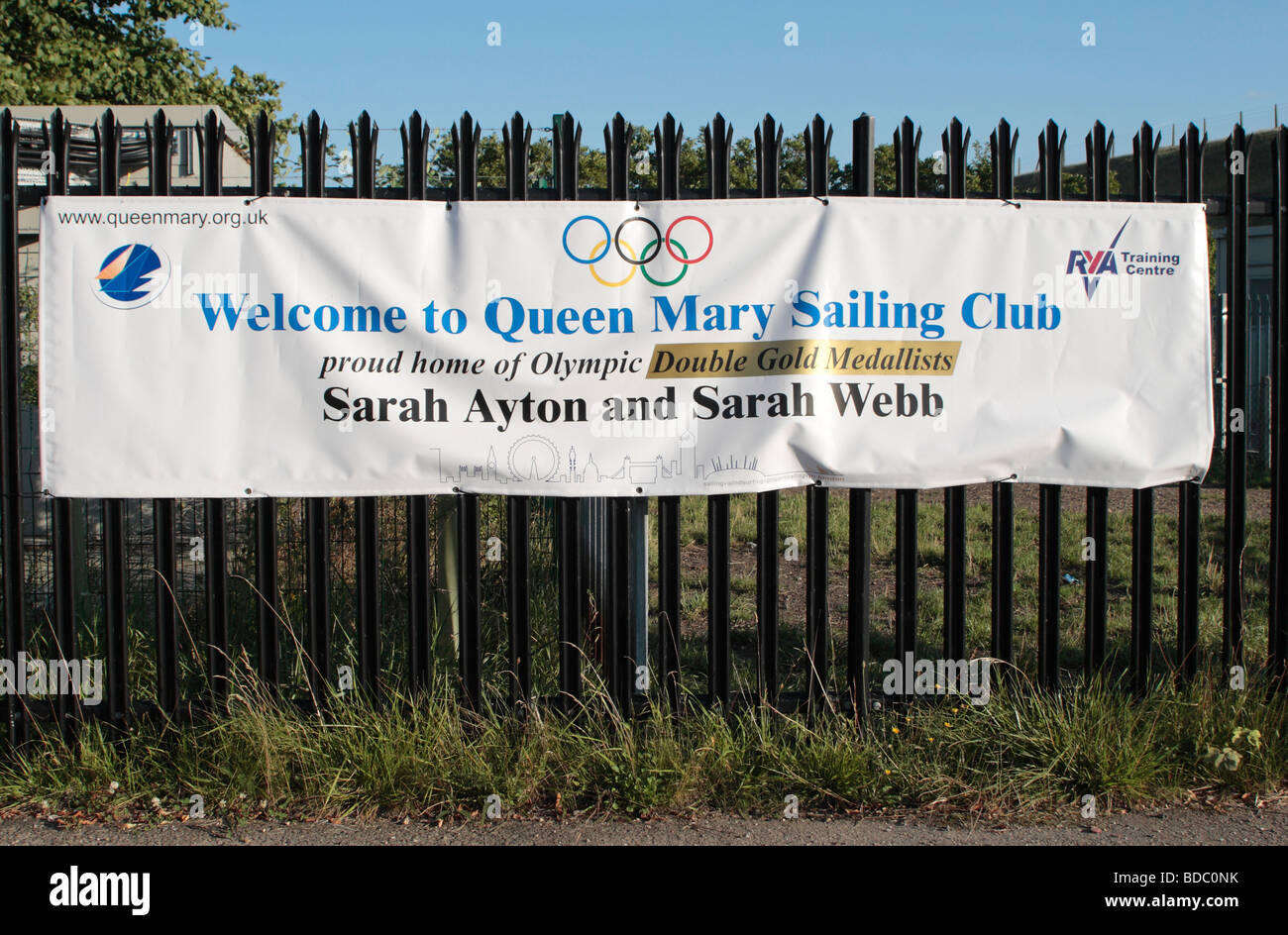 Sign at the entrance to the Queen Mary Sailing Club, - Stock Image